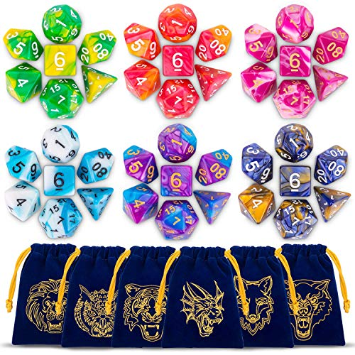 QMAY DND Dadi Dungeons And Dragons Dadi da 42 Pezzi con 6 Dice Bag e 1 Flowy Tin DoubleColors Dadi poliedrici per Dungeons And Dragons