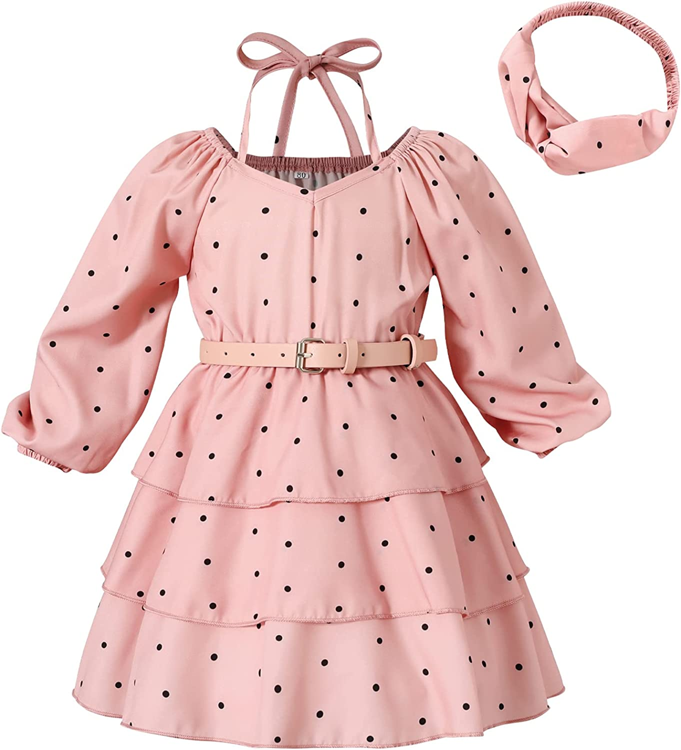 Toddler Girls Clothes Dress Halter Dots 3-Layer Pleated Party Dress Chiffon A-line Dress with Belt Headband Summer Outfits