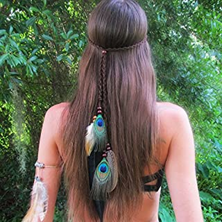 Nicute Festival Feather Headband Peacoak Tassel Headpiece Black Boho Hair Accessories for Women and Girls