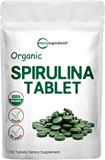 Organic Spirulina Supplements, 3000MG Per Serving, 720 Tablets (4 Months Supply), Rich in Minerals, Vitamins, Chlorophyll,...