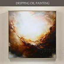 SupKey.Art Artista Pintura al óleo Abstracta Moderna Pintada a Mano Pura sobre Lienzo Colores Marrones Pintura al óleo Abstracta para Sala de Estar