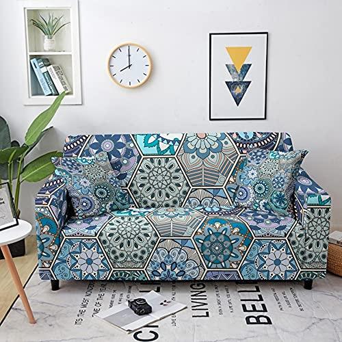 Funda elástica con diseño de Mandala, Funda de sofá elástica seccional para Sala de Estar, Funda de sofá seccional A9, 3 plazas