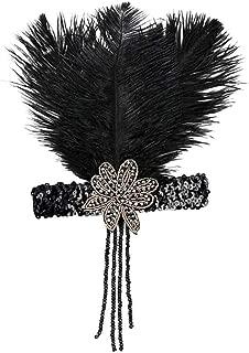 LODDD 1920s Headpiece Feather Flapper Headband Great Gatsby Headdress Vintage Headband