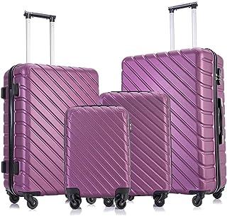 Fridtrip Travel Suitcase Hardshell Lightweight Luggage with Spinner Wheels Luggage Sets (4 PCS Suitcases, Purple)