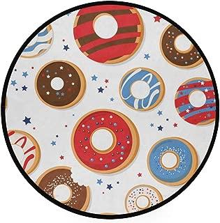 JOSENI Home Decor Light Round Area Rug,Vector Seamless Pattern Patriotic Donuts National ,Super Soft Circle Carpet (3'Diameter)