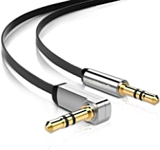 UGREEN 3.5mm Audio Cable, Stereo Aux Jack to Jack Cable 90 Degree Right Angle Auxiliary Cord Compatible for Beats, iPhone, iPod, iPad, Tablets, Speakers, 24K Gold Plated Male to Male Black (6FT)
