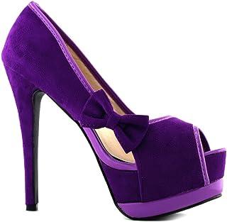 566dc8b5e0d2 SHOW STORY Sexy Womens 2 Tone Bow Peep Toe Platform Stiletto Pumps Shoes