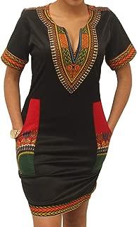 Women's Bodycon Dashiki African Midi Dresses Bohemian Vintage Club Dress with Pocket