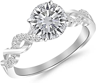 0.5 Ctw Twisting Infinity Gold and Diamond Split Shank Pave Set Diamond Engagement Ring (I-J Color I2 Clarity 0.37 Ct Round Cut Center)