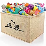 """Gimars X-Large Well Standing 26' L x 15""""W x 15""""H Collapsible Canvas Owl Toy Chest Box Baskets Storage Bins for Dog Toys, Kids, Children Toys, Blanket, Clothes - Nice for Playroom Living Room, Shelves"""
