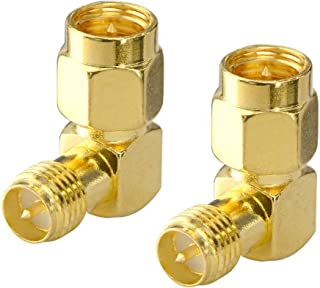 onelinkmore FPV Antenna Adapter SMA Male to Reverse Polarity SMA Female Right Angle 90-Degree Adapter Gold Plated Contacts Converter for WiFi Antenna/FPV Drone/Extension Cable Pack of 2