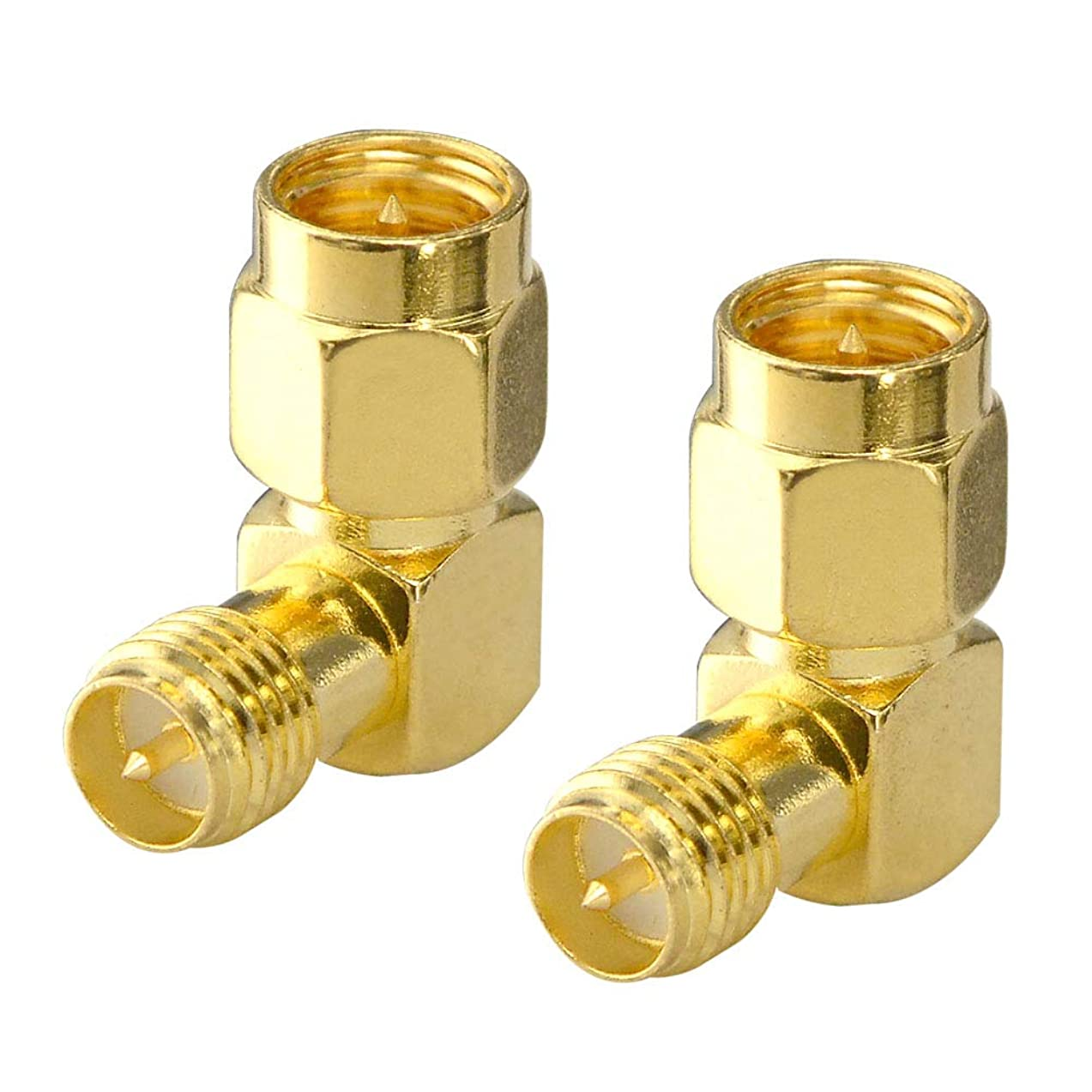 FPV Antenna Adapter SMA Male to Reverse Polarity SMA Female Right Angle 90-Degree Adapter Gold Plated Contacts Converter for WiFi Antenna/FPV Drone/Extension Cable Pack of 2