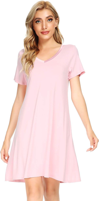 WiWi Soft Bamboo Nightgowns for Women Sleep Shirts Lightweight Short Sleeve Lounge Dress Plus Size Sleepwear S-4X