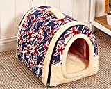 Chrasy Cosy Weiche Hundebett Hundehaus Hundehöhle Haustier Bett Warm Schlafsack Korb hundehütte mit Ablösbar Kissen Matte für Hunde, Katzen
