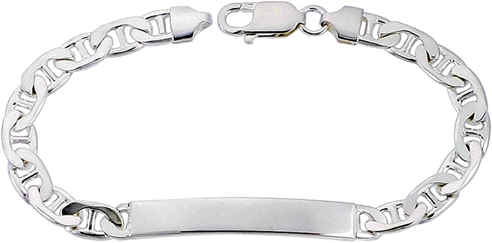 NYC Sterling Men's Silver Cheap mail order sales 6mm Max 87% OFF Made ID Mariner Bracelet
