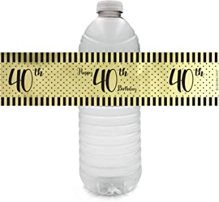 Black and Gold 40th Birthday Party Water Bottle Labels - Shiny Foil - 24 Stickers