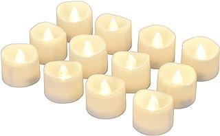 شمعة بدون لهب بإضاءة LED من إي لاندر مع مؤقت، 6 ساعات على و18 ساعة، 1.4 × 1.3 بوصة، أبيض دافئ، [12 عبوة]