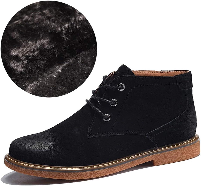 BABYS'q Men's Ankle Boots, Winter Warm Fur Lined Martin shoes, Antiskid Flat Comfy Casual Sneaker,black,39