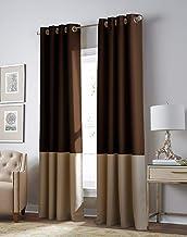 Curtainworks Kendall Color Block Room Darkening Grommet Curtain Panel, 108-inch, Chocolate/Camel Blackout