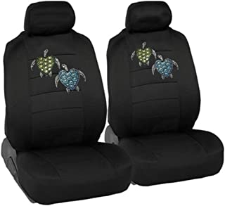 CarsCover Blue & Green Turtles Crystal Diamond Bling Rhinestone Black Car SUV Truck Low Back Seat Covers