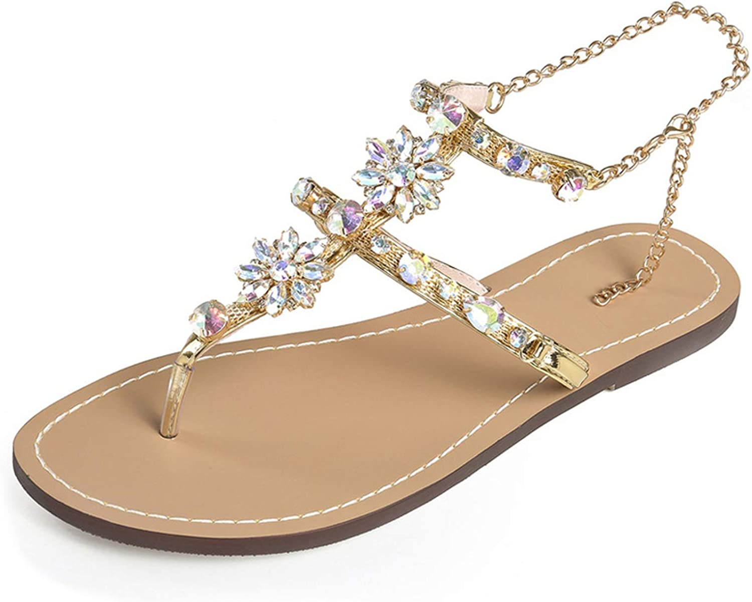 Heat-Tracing Summer Women Chains Thong Gladiator Flat Sandals Crystal Fashion Rome Flip Flops Sandals