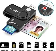 Eletrand Inteligente USB 2.0 Lector de Tarjetas | Lector de DNI Electrónico y CAC Inteligente Lector de Tarjetas | Adaptador de Tarjeta SD/Micro SD | Compatible con Windows