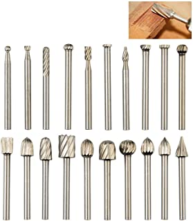 QLOUNI 20pcs Rotary Bit Burrs Set HSS Tungsten Carbide Wood Milling Burrs with..
