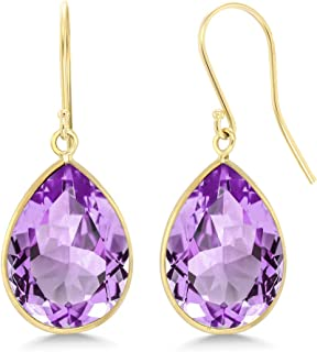 14K Yellow Gold Purple Amethyst Earrings 13.00 Cttw Jewelry Gemstone Birthstone 12X16MM Pear Shape 1 Inch