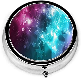 Pill Box Colorful Galaxy Star Round Pill Case Daily Metal Silver Medicine Tablet Holder Organizer Carry Cases for Purse Pocket Travel Vitamin,Small 2 inch,3 Compartment
