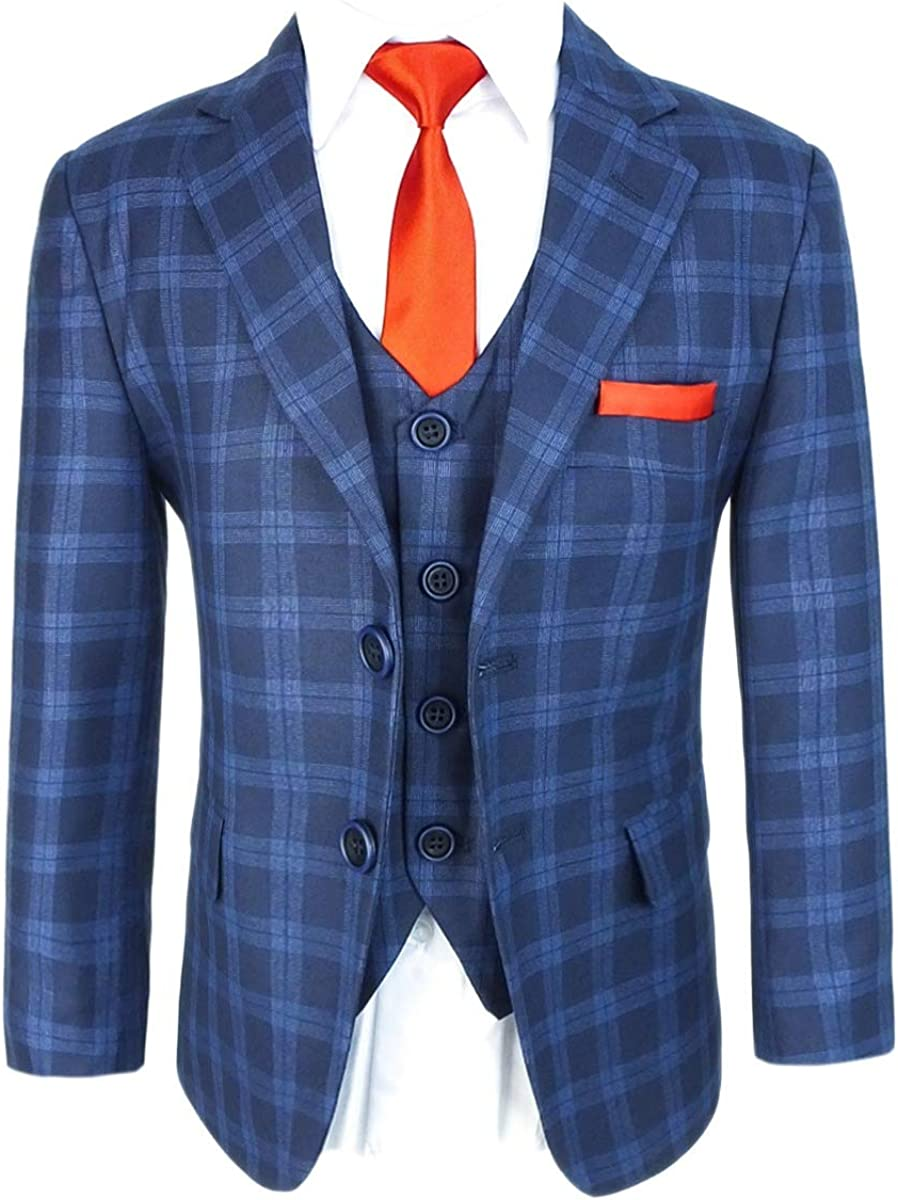 Boys' Tailored fit 激安通販ショッピング Formal Blue Plaid Age 舗 Suit 1 Check Set Print