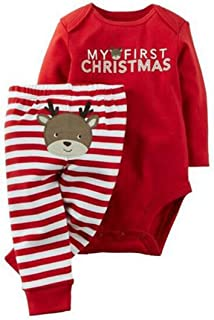 2Pcs Outfits Baby Boys Girls Christmas Deer Print Long Sleeve Romper Tops+Striped Pants Set