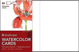 "$25 » Strathmore 105-210-1 Watercolor Cards, Cold Press, 5"" x 6.875"", 50 Envelopes, Cards & Envelopes , White"