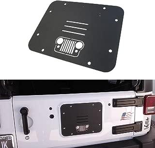 TOPPOWER Black Spare Tire Carrier Delete Filler Plate Tramp Stamp for 2007-2017 Jeep Wrangler JK JKU (Grille)