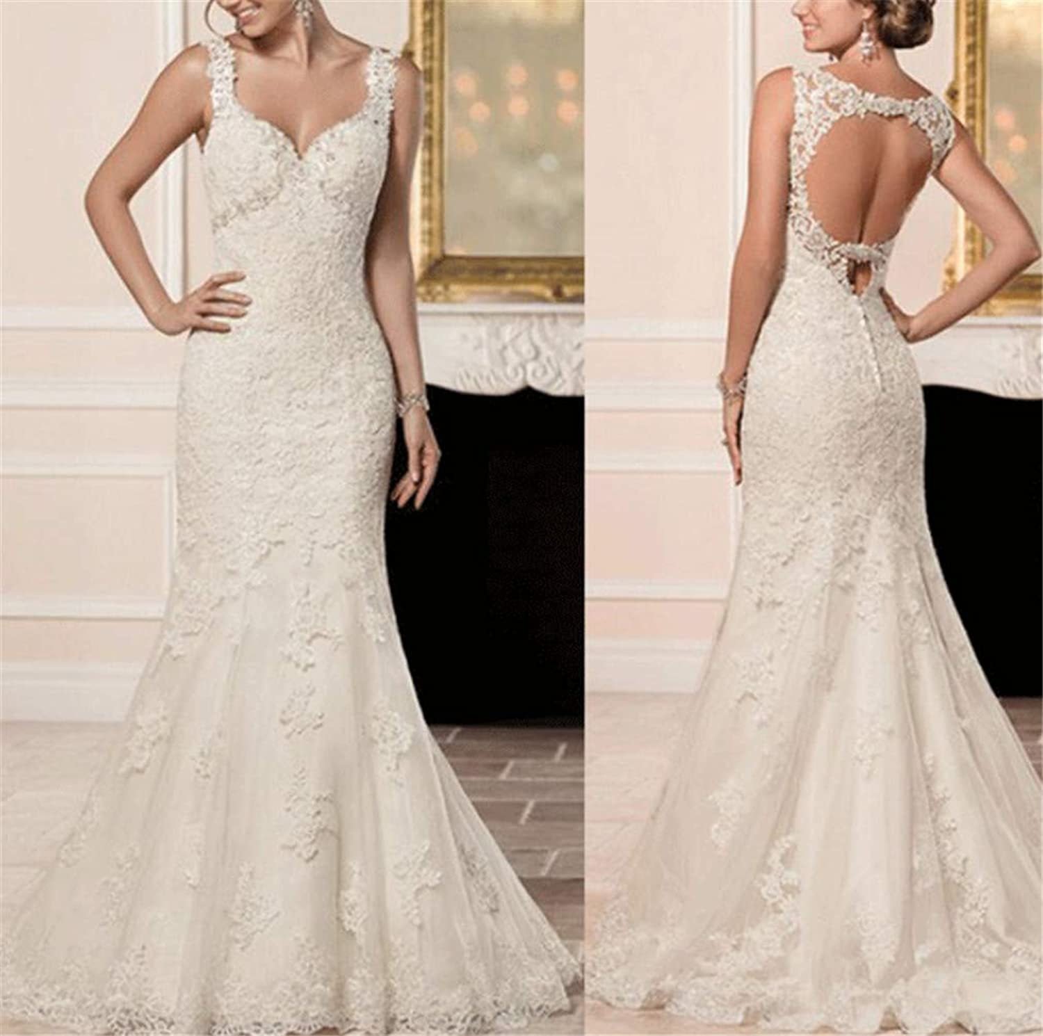 Wedding Dress, Europe and America Elegant Sexy Deep VNeck Sling high Quality Lace Hand Embroidery Slim Fit Fish Tail Church Wedding Dress