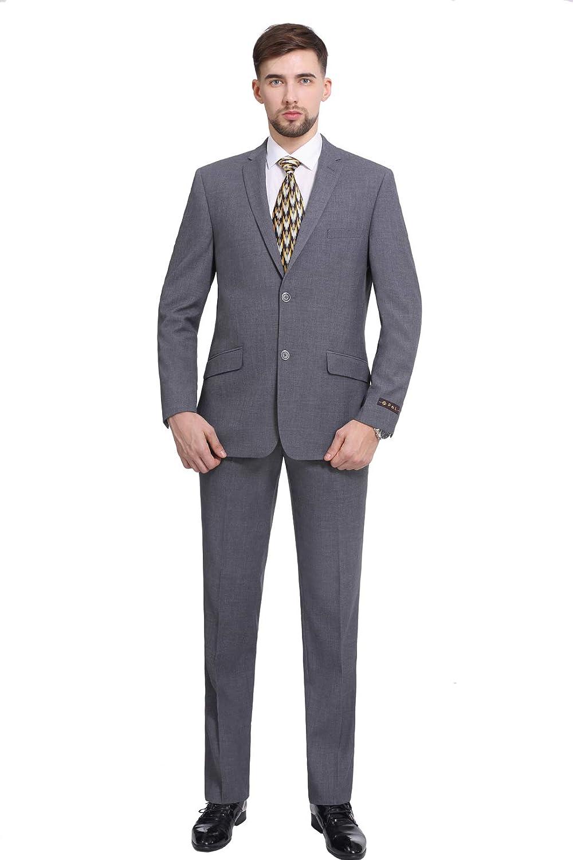 P&L Men's Premium Slim Fit 2-Piece Business Wedding Prom Suit Jacket Blazer Tux & Flat Pants Set Grey