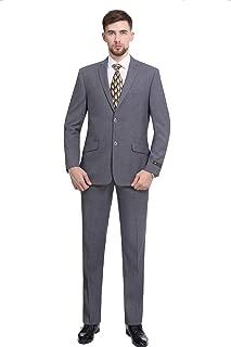 Men's Premium Slim Fit 2-Piece Suit 2 Button Blazer Jacket & Flat Pants Set