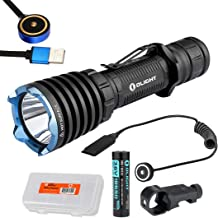 OLIGHT Warrior X 2000 Lumen Rechargeable Tactical Flashlight with Rechargeable Battery, Magnetic Pressure Switch, Mount, and LumenTac Battery Organizer