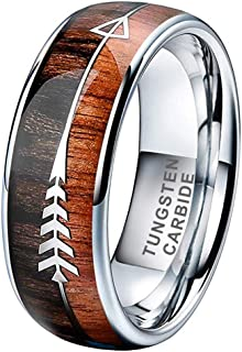 6mm 8mm Silver/Black/Yellow Gold/Rose Gold Tungsten Rings for Men Women Wedding Bands Koa Wood Deer Antler Arrow Inlay Domed Polished Shiny Comfort Fit