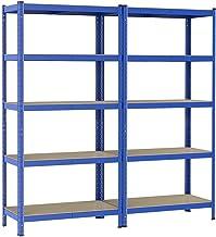 Yaheetech Opbergrek, 2 stuks, 90 x 180 x 40 cm, rek voor zware lasten, 5 planken, kelderrek, max. Met 875 kg belastbaar le...