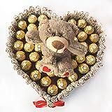 Regalo Original de chocolates. Tarta con forma de corazón con Ferrero Rocher (Tarta con Ferrero Rocher + Peluche)