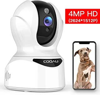 WiFi IP Pet Camera 4MP AI Home Security Camera, COOAU Wireless Baby Monitor with Face, Sound and Motion Detection, Motion Tracking, Night Vision, Two-Way Audio, Work with Cloud Service and Alexa