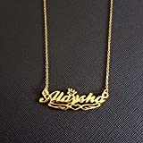 JIAQINGRNM Collares Tous Collar Colgante de Acero Inoxidable de Titanio DIY con Letras de Nombre En Inglés Regalo de San Valentin Navidad
