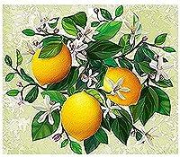 5D DIYダイヤモンド塗装キット、フルダイヤモンドラウンドラインストーン刺繍、家の壁の装飾(レモンの花)に使用30x40cm