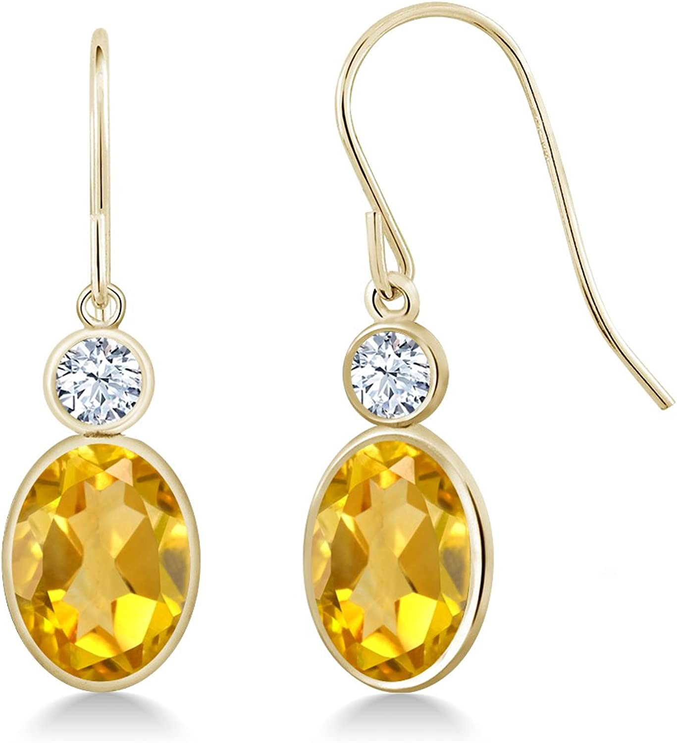 2.86 Ct Oval Yellow Citrine White Created Sapphire 14K Yellow gold Earrings