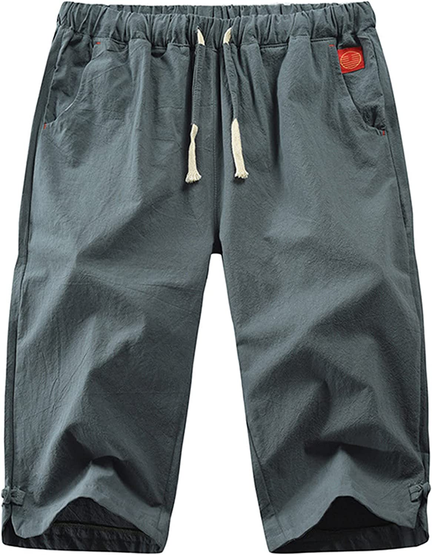 YUNDAN Men's Workout Gym Shorts Quick Dry 3/4 Capri Pants Zipper Pockets Biker Shorts Hiking Running Big & Tall Shorts
