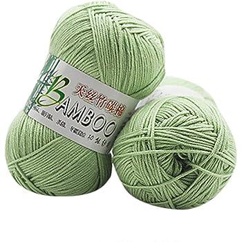 Winkey Ovillo de hilo, 100 % de algodón cálido de bambú natural, para ganchillo. Ovillo de 50 g, para mantas o jerséis U: Amazon.es: Hogar