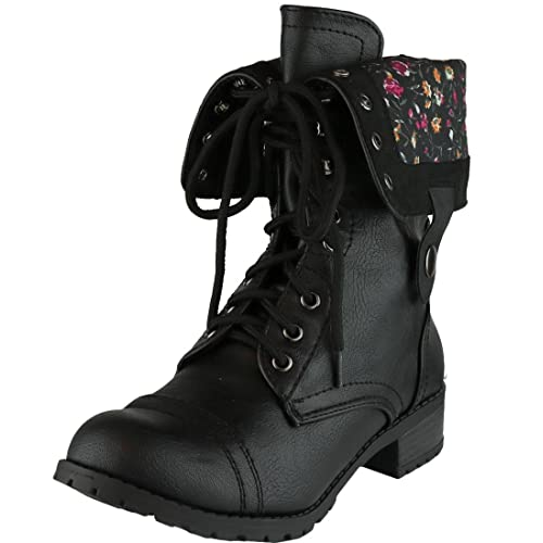 Black Combat Boots With Floral Interior