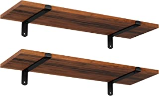 SONGMICS Wall Shelves, Floating Shelves Set of 2, Rustic Decorative Shelves, Retro Style, 23.6 x 7.9 x 2.8 Inches, for Bedroom Living Room Kitchen Hallway, Brown and Black ULWS04NB