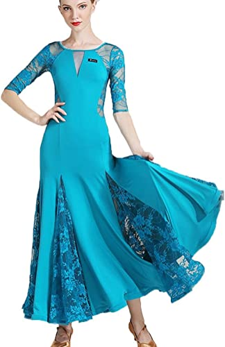 MoLiYanZi Valse Robe de Danse Moderne pour Les Femmes Dentelle épissure Soie de Glace Costumes de Danse de Salon