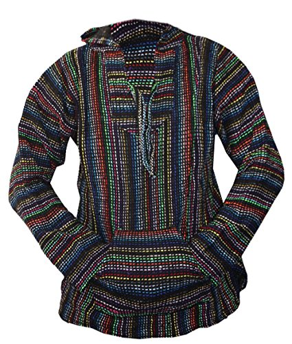 Del Mex Mexican Baja Hoodie Hippie Surf Poncho Sweater Sweatshirt Pullover Jerga (XX-Large, Multi-Colored)